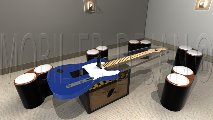 Table basse type telecaster salecaster guitare - Table basse en forme de s ...